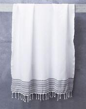 TRUVA Tassel Bath Towel With Grey Stripes White 100% Turkish Cotton 1.95*1M
