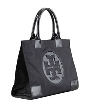 NEW Authentic Tory Burch Ella Nylon Logo Tote Bag 13X17X6  Black LARGE