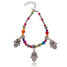 1pc handmade colorful beads Tibetan silver hand style charm bracelet