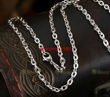 Silver Strong stainless steel Oval Link chain Necklace 4.5mm 19.6'' For Men