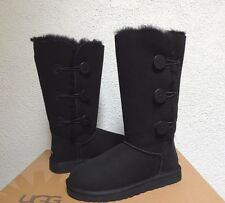 UGG BLACK BAILEY BUTTON TRIPLET SUEDE/ SHEEPSKIN BOOTS, WOMEN US 7/ EUR 38 ~NEW