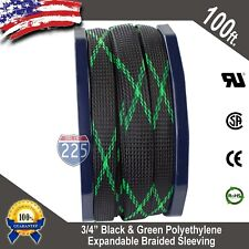 """100 FT 3/4"""" Black Green Expandable Wire Sleeving Sheathing Braided Loom Tubing"""