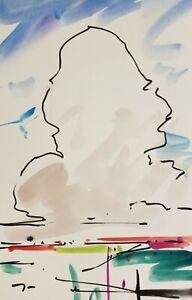 "JOSE TRUJILLO Clouds American ORIGINAL Watercolor Painting ABSTRACT sky - 6X9"""