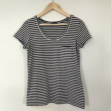 Theory Womens Top T-Shirt, Size Small Striped Cotton Stretch Top with Pocket
