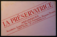 BUVARD PUBLICITAIRE ANCIEN : ASSURANCES LA PRESERVATRICE