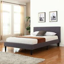 Deluxe Bed Tufted Grey Platform Bed Frame with Wooden Slats (Full Size)
