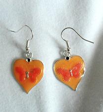 Dangle earrings - orange enamel 20mm hearts with butterfly