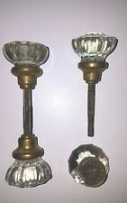 2 ANTIQUE VINTAGE DOOR KNOB SETS CRYSTAL GLASS with SHAFTS