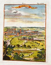 1685 Paris Gesamtansicht Kolorierter Kupferstich Alain Manesson Mallet