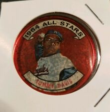1964 **TOMMY DAVIS** ALL STARS! L. A. DODGERS #153 TOPPS COIN! USED.