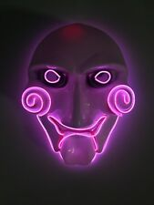 EL WIRE SCARY HALLOWEEN MASK LED COSTUME RAVE COSPLAY - SAW JIGSAW PARTY RARE