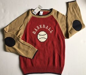 NWT Gymboree Play Ball Size 7 Red Baseball Raglan Sweater