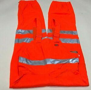 New Dickies Men Orange High Visibility Bib Overalls-Size S/M-Lightweight-VB500AO