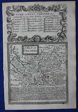 Contea di originale antica mappa INGHILTERRA, Cheshire, EMANUEL Bowen, 1724
