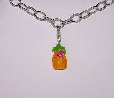 925 STERLING SILVER PINEAPPLE CLIP ON CHARM-3D- FOR CHAINLINK TYPE BRACELETS