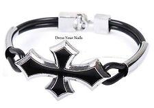 Vintage Cross Black Alloy Bracelet Accessory Punk Rock Wristband Cuff