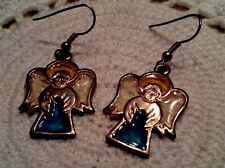Angel Gold Tone Banded Blue Epoxy Vintage Dangle Earrings Stained Look Glass