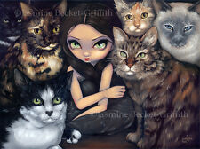 Jasmine Becket-Griffith art print SIGNED It's All About the Cats siamese fairy