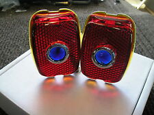 NEW PAIR OF REPLACEMENT BLUE DOT LENS FOR THE 1937 1938 CHEVROLET !