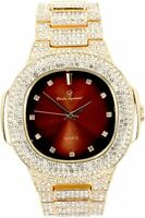 Men Iced Oblong Watch Bling Rapper Lab Simulate Diamond Gold Band Luxury Brown