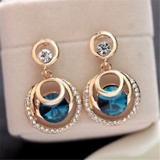 Lusury Round Big Crystal Blue Glass Rhinestone Gold Plated Women Stud Earrings
