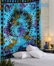 Indian Handmade Queen Size Tie Dye Wall Hanging Tapestry Sun Moon Bedspread