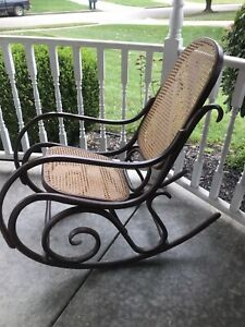Vintage Rattan Bentwood Rocker Rocking Chair Thonet Style Dark Brown Wicker Back