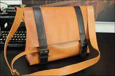 "Vintage 15"" Tan Rustic  Italian Leather Mail Messenger Laptop Postal Bag Mens"