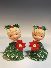 Vtg Holt Howard Japan Holly Poinsettia Girl Christmas Tree Salt & Pepper Shakers
