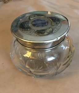 Rare Labradorite Stone  STERLING SILVER Lid Glass Powder Dresser Jar Vanity