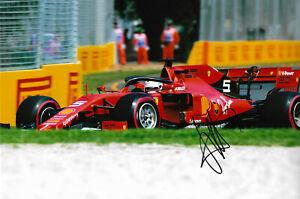 "Sebastian Vettel ""Ferrari 2019"" signed 8x12 inch photo autograph"