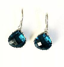 Sterling Silver Pear Cushion Cut London Blue Topaz Filigree Dangle Earrings