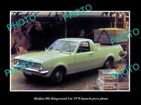 OLD POSTCARD SIZE PHOTO OF GMH 1970 HG HOLDEN KINGSWOOD UTE LAUNCH PRESS PHOTO