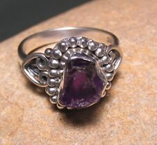 Sterling silver everyday ROUGH AMETHYST ring UK I½-¾/US 4.75. Gift bag.