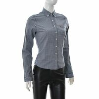 Hollister Womens Casual Button Down Shirt Hip Length Long Sleeve Gingham Check S