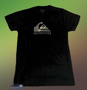 New Quiksilver Mountain Waves Camo Logo Black Mens T-Shirt