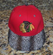 NHL Chicago Blackhawks Leader LOGA Snakeskin Hat Cap Red Strapback One Size NWT