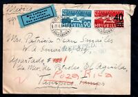 Switzerland 1937 Airmail Expedited cover to Mexico Cat Val stamps £60 WS14814