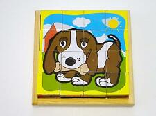 2012 Toddler Boys & Girls Wood Block Cubes 6-in-1 Pet Puzzle in Wood Tray age 3+
