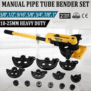 "Pipe Bender, Manual Bench Bending Machine 3/8""-1"" Tube Bender Set 7 Dies"