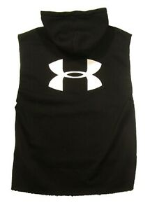 Under Armour Men's Black Logo French Terry Overszied Fit Sleeveless Hoodie $120
