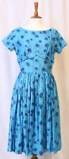 Vintage 1950 S JONATHAN LOGAN Polished Cotton Shelf Bust Blue Floral Dress S