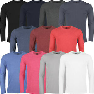 New Mens T Shirts Long Sleeve Crew Round Neck Tees Plain Designer Casual Top