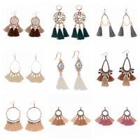 Fashion Women Earrings Bohemian Tassel Cotton Vintage Hook Drop Earrings Jewelry