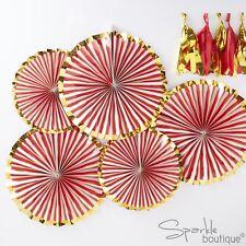 RED, WHITE & GOLD PINSTRIPE FANS x5 -Christmas/Xmas Hanging Pinwheel Decorations