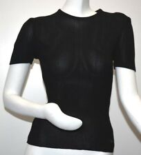 $1650 New Chanel TOP Ribbed Black Viscose Rayon Short Sleeve 46