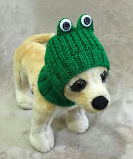 Pet Clothes Apparel Hand made Knit Frog Hat for Small Dog