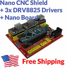 Arduino Nano CNC Shield 3-Axis DRV8825 Stepper Driver Board Complete Package Kit