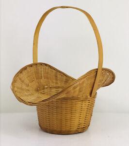 Vintage Antique  handmade Woven  WICKER BASKET  Flower Gathering  Curved Round