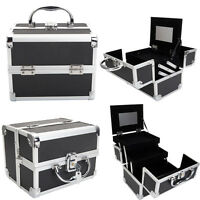 Portable Aluminum Makeup Case Box Jewelry Cosmetic Holder Storage Space Saving